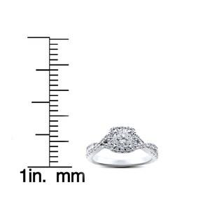 14k White Gold 1ct TDW Cushion Halo Diamond Twist Engagement Ring (I-J,I2-I3)
