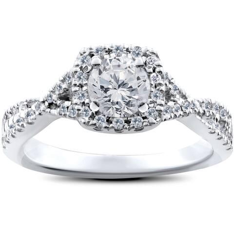 14k White Gold 1ct TDW Cushion Halo Diamond Twist Engagement Ring