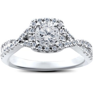 14k White Gold 1ct TDW Cushion Halo Diamond Twist Engagement Ring (I-J,I2-I3)