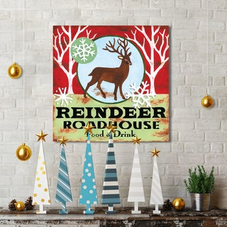 Jennifer Brinley 'Reindeer Roadhouse' Holiday Canvas Print Wall Art