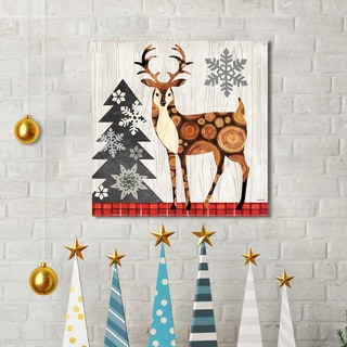 Portfolio Canvas Decor Jennifer Brinley 'Norwegian Wood Deer' Holiday Canvas Print Wall Art