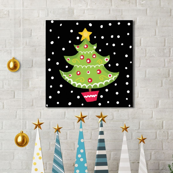 Portfolio Canvas Decor Farida Zaman \'Christmas Tree on Black\' Canvas ...