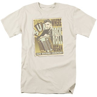Sun/Rock N Roll Began Poster Short Sleeve Adult T-Shirt 18/1 in Cream