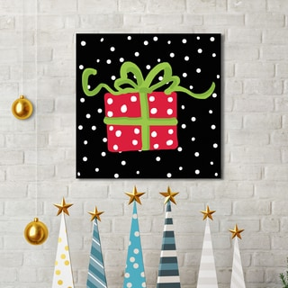 'Christmas Gift on Black' by Farida Zaman Portfolio Canvas Decor Holiday Canvas Print Wall Art
