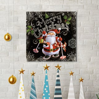 Geoff Allen 'Chalk Santa Merry Christmas Black' Canvas Print Holiday Wall Art