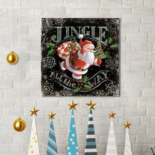 Geoff Allen 'Chalk Santa Jingle Black' Canvas Print Wall Art