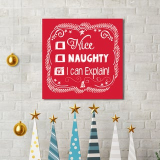 Sally Ball Sharp 'Chalk Holiday Explain' Holiday Gallery-wrapped Canvas Print Wall Art
