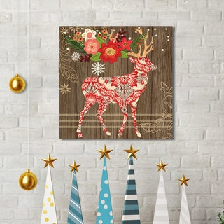 Portfolio Canvas Decor Jennifer Brinley 'Alpine Holiday Deer' Holiday Canvas Print Wall Art