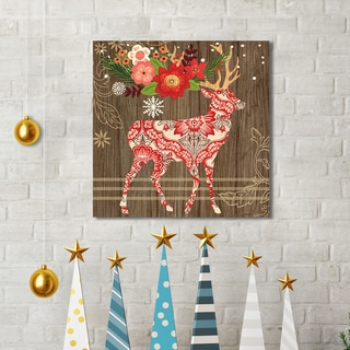 Jennifer Brinley 'Alpine Holiday Deer' Portfolio Stretched and WrappedCanvas Decor Holiday Canvas Print Wall Art