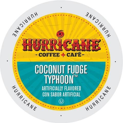 Hurricane Coffee and Tea Coconut Fudge Typhoon Rainforest Alliance Single Serve Cup Portion Pack for Keurig K-Cup Brewers
