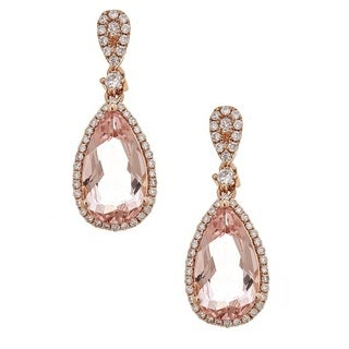 Anika and August 14k Rose Gold Morganite and Diamond Dangle Earrings