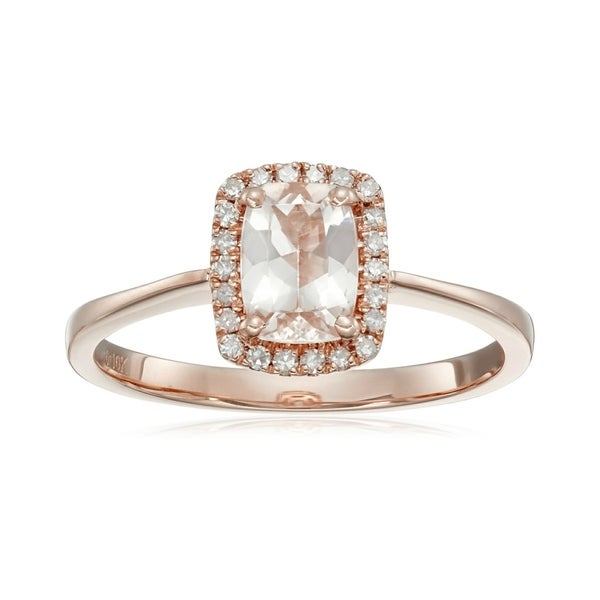 Pinctore 10k Rose gold Cushion-cut Morganite and 1/10ct TDW Diamond Ring (H-I,I1-I2)