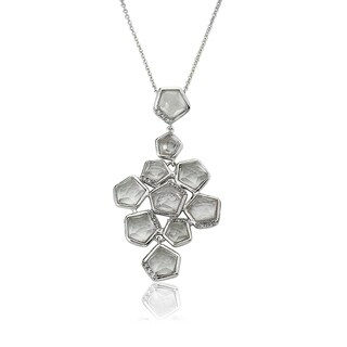 City Lights Rhodium-plated Cubic Zirconia Faceted Stone Cluster Pendant Necklace