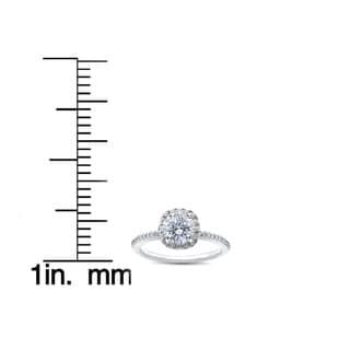 14k White Gold 1ct TDW Round Diamond Engagement Ring Cushion Halo (I-J,I2-I3)