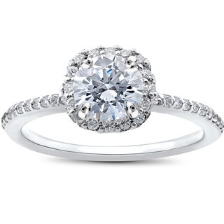 14k White Gold 1ct TDW Round Diamond Engagement Ring Cushion Halo (I-J,I2-I3)