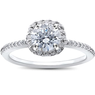 14k White Gold 1ct TDW Round Diamond Engagement Ring Cushion Halo