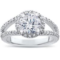 14k White Gold 2ct TDW Carat Clarity Enhanced Diamond Halo Engagement Ring Split Shank