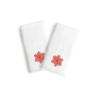 Authentic Hotel and Spa 2-piece Holiday Turkish Cotton Hand Towels with Red Snowflake Embroidery (Set of 2)
