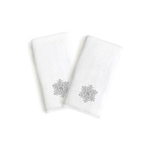 Authentic Hotel and Spa 2-piece Holiday Turkish Cotton Hand Towels with Silver Snowflake Embroidery (Set of 2)