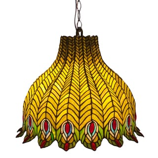 'Pride of the Peacock' Multicolored Stained Glass Pendant Lamp