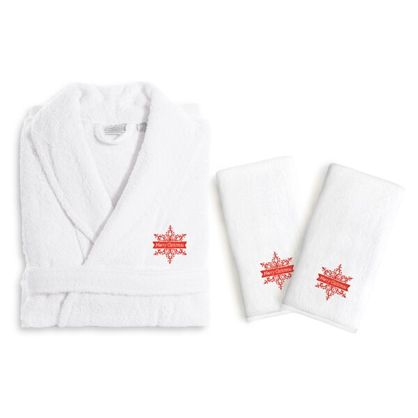 Authentic Hotel and Spa Merry Christmas Holiday Terry Cloth Turkish Cotton Bath Robe and Hand Towel Set (Set of 3)