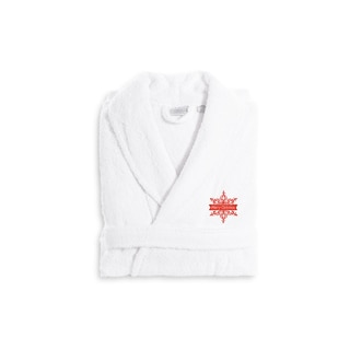 Authentic Hotel and Spa Red Snowflake Terry Cloth Turkish Cotton Bath Robe