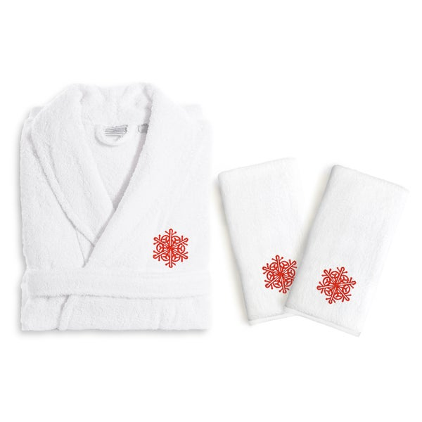 Authentic Hotel and Spa Red Snowflake Holiday Terry Cloth Turkish Cotton Bath Robe and Hand Towel Set (Set of 3)