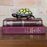 River of Goods Turtle Stained Glass Bronze Finish Resin 2.5-inch High Cordless Accent LED Lamp