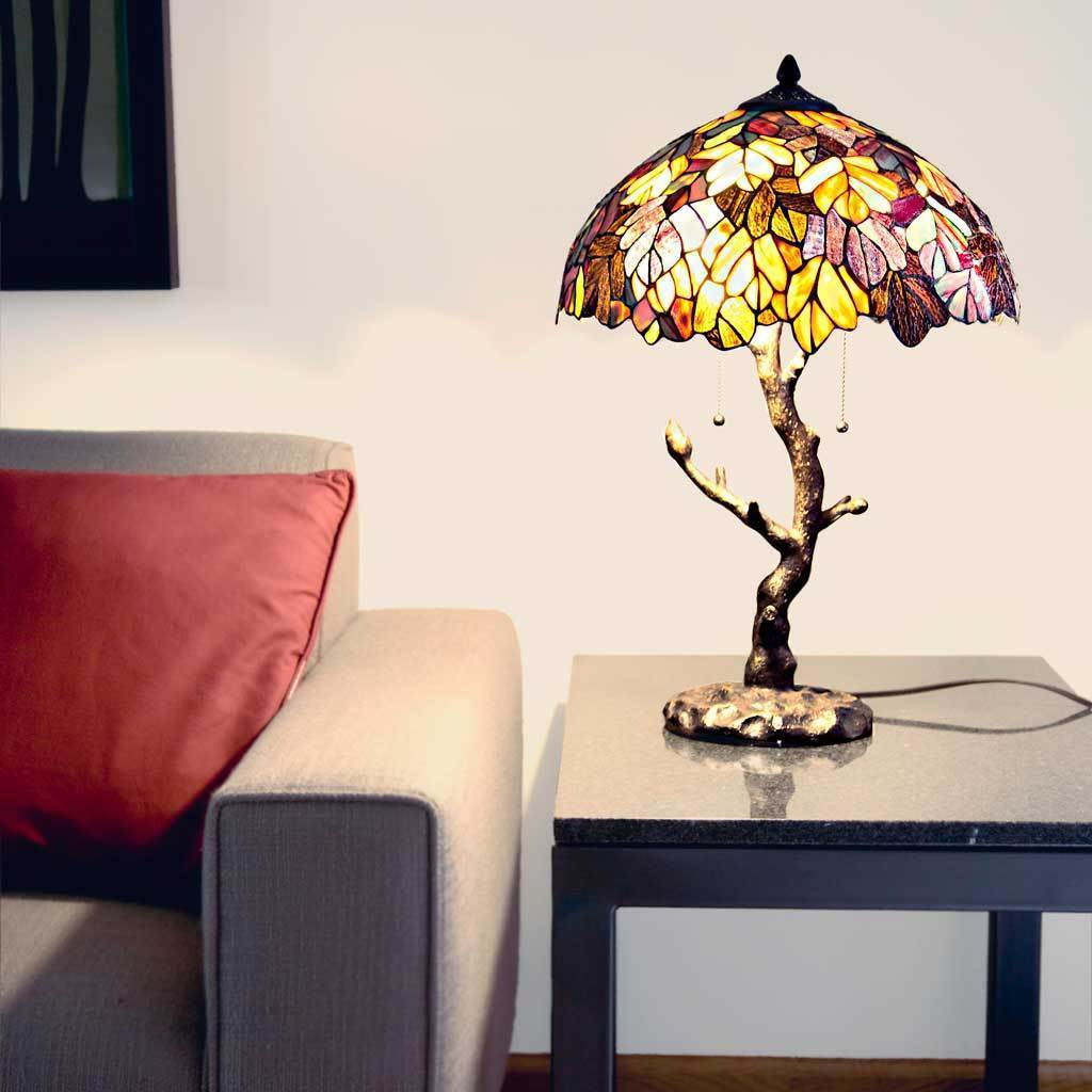 Gracewood Hollow Mohand Maple Stained Glass 24.5-inch Tiffany-style Table Lamp with Tree Trunk Base