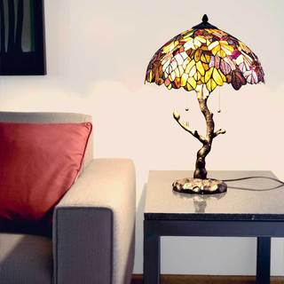 Gracewood Hollow Mohand Maple Stained Glass 24.5-inch Tiffany-style Table Lamp with Tree Trunk Base - Thumbnail 0
