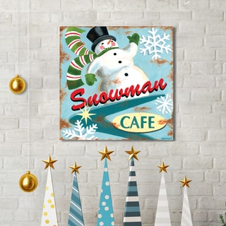 Portfolio Canvas Decor Jennifer Brinley 'Snowman Cafe' Holiday Canvas Print Wall Art