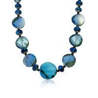 Aqua Faceted Glass 18-inch Avant-garde Necklace