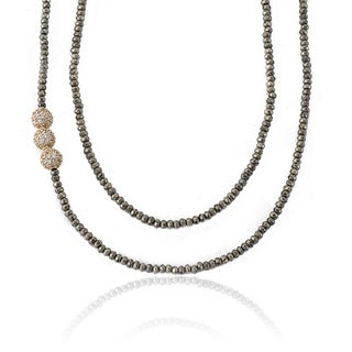 Riccova Women's Avant-garde 2-strand Pyrite Necklace With 3 Cubic Zirconia Pave Rhodium Balls and 16 + 2-inch Brass Chain