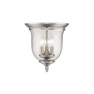 Livex Lighting Legacy Steel 3-light Ceiling Mount with Glass Shade