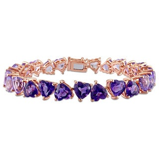 Miadora Rose Plated Sterling Silver Rose de France and African Amethyst Heart Link Bracelet