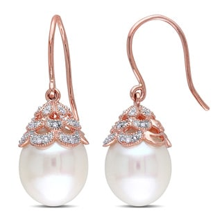 Miadora 14k Rose Gold Freshwater Cultured Pearl and 1/10ct TDW Diamond Filigree Drop Earrings (10.5-11mm) (G-H, I1-I2)