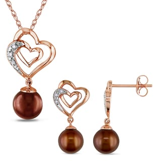 Miadora 10k Rose Gold Dyed Brown Freshwater Cultured Pearl and Diamond Accent Heart Necklace and Earrings 2-Piece Set(6.5-7.5mm)