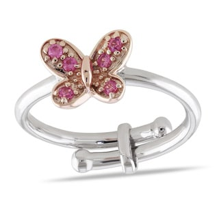 Miadora 2-tone White and Rose Plated Sterling Silver Created Pink Sapphire Children's Butterfly Ring