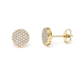 18k Yellow Gold Overlay and Crystals Stud Earrings