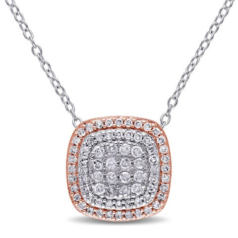 Miadora 2-Tone White and Rose Plated Sterling Silver 1/2ct TDW Diamond Grid Double Halo Necklace