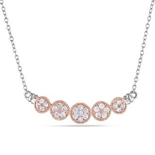 Miadora 2-Tone White and Rose Plated Sterling Silver 1/2ct TDW Diamond Halo Flower Necklace (I3-I4)