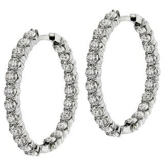 14k/18k White Gold 9ct TDW Diamond Inside / Outside Hoop Earrings (G-H, SI1-SI2)