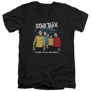 Star Trek/Stange New World Short Sleeve Adult T-Shirt V-Neck 30/1 in Black