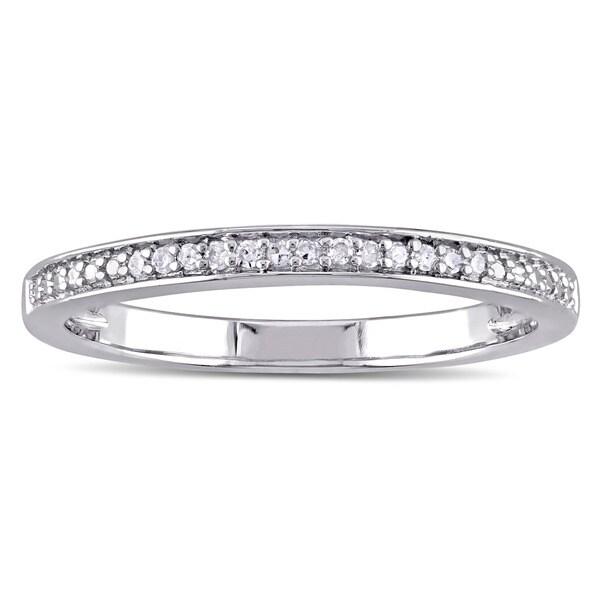 Miadora Sterling Silver Diamond Accent Semi Eternity Wedding Band
