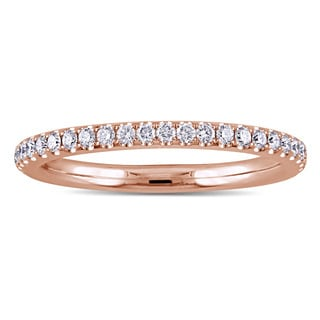 Miadora 14k Rose Gold 1/3ct TDW Diamond Eternity Wedding Band