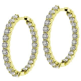 14k/18k Yellow Gold 9ct TDW Diamond Inside / Outside Hoop Earrings (G-H, SI1-SI2)