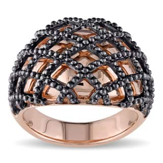 Miadora 2-tone Rose and Black Plated Sterling Silver Crisscross Cocktail Ring|https://ak1.ostkcdn.com/images/products/12511463/P19318059.jpg?impolicy=medium