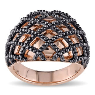 Miadora 2-tone Rose and Black Plated Sterling Silver Crisscross Cocktail Ring