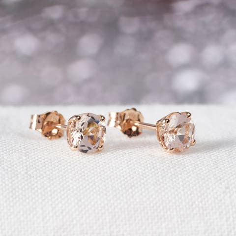 1ct TGW Morganite Solitaire Stud Earrings in 14k Rose Gold by Miadora - 5 mm x 5 mm x 3.7 mm