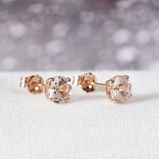 Miadora 14k Rose Gold Morganite Stud Earrings